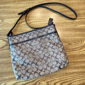 """Coach brown """"C"""" printed crossbody purse leather"""